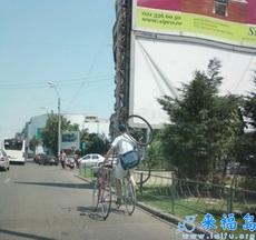 riding three bicycles