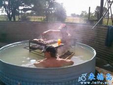 泡個澡,吃個燒烤,多愜意