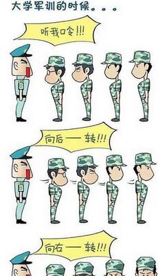 军训卡通手绘图