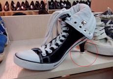 ?#26009;?#22899;生眼睛的新式高跟帆布鞋