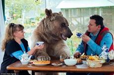 俄罗斯的斯韦特兰娜和尤里,和一只23岁的熊一起生活