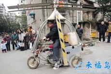 下岗工人将三轮摩托改装成直升飞机