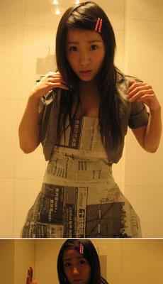 看美女穿报纸做的衣服跳舞!
